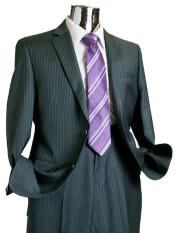 ID#FP278 Suit Separate Two buttons Wool fabric Suit Dark Charcoal Masculine color Pinstripe ~ Stripe Inexpensive ~ Cheap ~ Discounted Online Reduced Price Only