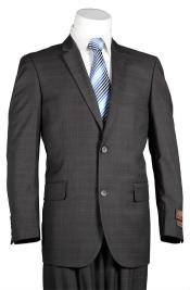 ID#MK129 Fitted Trim Fit Windowpane Two buttons Inexpensive ~ Cheap ~ Discounted Clearance Sale Charcoal Suit