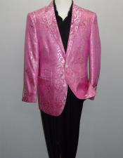 ID#KO18636 Two Buttons Fuchsia  Notch Lapel  Paisley-100 Alberto Nardoni Fancy Party Blazer For Men
