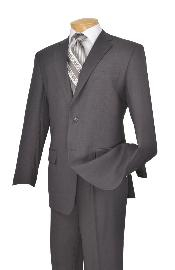 D62T_2TR-GRY723 Man Made Fiber-rayon Executive Pure Basic Solid Plain Gray Suit Notch Collar Pleated creased Pants