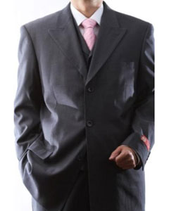 ID#DAS12 Superior fabric ior 150s Extra Gray 3 pcs Vested Suits for Men with Peak Collared