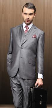 ID#MAW21 Classic 3pc Two buttons Gray Wedding / Prom Suit Superior fabric 150's 1 Pleat Pants Italian Fabric