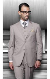 ID#PN96 Notch Collared Two Buttons Side Vented Vested Pants Tan Wedding / Prom Outfit Beige 3 ~ Three Piece Suits for Men Regular Fit Pick Stitched Pleated Pants Two buttons Jacket