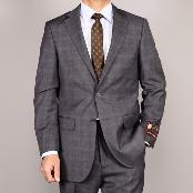 ID#GRP13 Side Vented Jacket & Flat Front Pants Grey Plaid Two-Button Suit