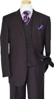 ID#KA1230 Tzarelli Basic Solid Plain Very Dark Purple pastel color With Very Dark Purple pastel color Hand-Pick Stitching Superior fabric 150'S Wool fabric Vested 3 ~ Three Piece Suit