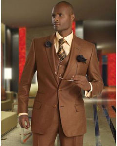 ID#RW-54 Basic Solid Plain Vested 3 ~ Three Piece Two buttons Copper~Rust Suit Wool fabric 1 Pleat Pants Pick Stitched Collared