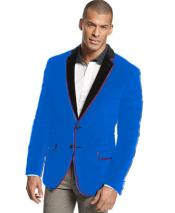 ID#K-28R Velvet Velour Sportcoat Jacket Formal tux coats Sport Mens Blazer Suit Jacket Coat Two Tone Trimming Notch Collar French Blue