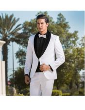 ID#DB17814 Two Toned  Prom ~ Wedding Groomsmen Tuxedo All White & Black Velvet Lapel Shawl Lapel Wedding Suits For Groom For Sale