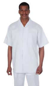 ID#KA9210 Beach Wedding outfit Fabric Short sleeve shirt & pants – Snow - Mens All White Linen Suit