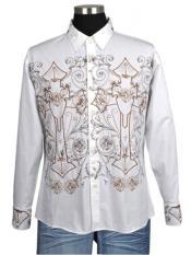 ID#VJ17142 Milano Moda Embroidered Design Casuasl Shirt