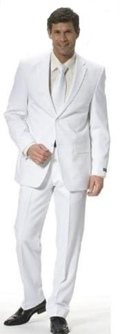 ID#ASHI22 Off White Tapered Leg Lower rise Pants & Cool Light Weight 2 or Three buttons Taper Inexpensive - Cheap - Discounted Clearance Sale Extra Slim Fit Prom + Shirt & Tie As Seen