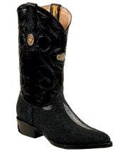 ID#RM1248 White Diamonds Genuine mantarraya stingray Formal Shoes For Men J Toe Dark color black Boots