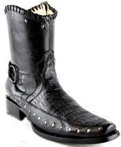 ID#RM1262 White Diamonds Short Caiman skin Belly Formal Shoes For Men European Square Toe Fashion Boots Dark color black