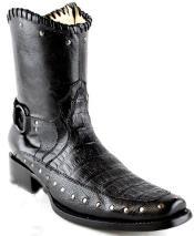 White Diamonds Short Caiman skin Belly Formal Shoes For Men European Square Toe Fashion Boots Dark color black
