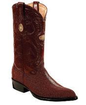 White Diamonds Genuine mantarraya stingray Hand Stitched Upper Shaft Burgundy Boots