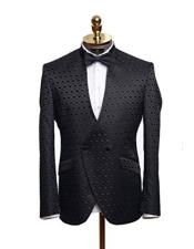 ID#DB18845 Tuxedo White Double vent High Collar Lace Long sleeves Slim Fit