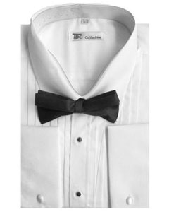 Mens Tuxedo Shirt with Bow-Tie Combo French Cuff White Groomsmen Wedding Vest ~ Waistcoat ~ Waist coat For Groom and Groomsmen Available in Big And Tall Sizes