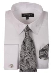 Fashion Dress Cheap Fashion Clearance Shirt Sale Online For Men Combo with Ties and Handkerchiefs White