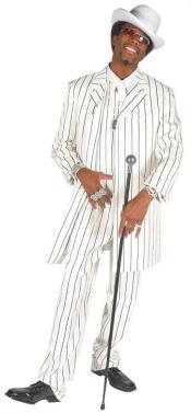 ID#ZTN909 Beautiful Vested White & pronounce visible Dark color black Striped Gangester Zoot Pre order For September/1/2020 3 - Three Piece Pinstripe Suit