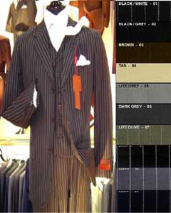 ID#SLK7 pronounce visible White Pinstripe Vested Superior fabric Wool fabric feel Man Made Fiber~rayon Three buttons Suit  3 ~ Three Piece Comes in 10 Colors