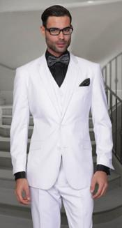 ID#PNI52 Pleated creased Panted Feel Man Made Fiber-Rayon Vested 3 ~ Three Piece White & Off White Wedding Suits For Men For Sale Regular Cut