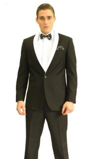 ID#RH8465 3inch White Shawl Prom ~ Wedding Groomsmen Tuxedo / Graduation Homecoming Outfits
