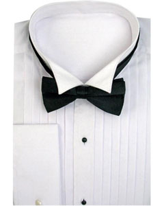 ID#TS-3821 Tuxedo Dress Shirt Wing Collar with Bow-Tie Combo French Cuff White Groomsmen Wedding Vest For Groom and Groomsmen Available in Big And Tall Sizes