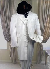 ID# ER435 AC-204 SNOW WHITE 3PC FASHION ZOOT SUIT WITH A VEST Off White Wedding Suits For Men For Sa