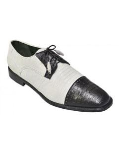 ID#PN-0 Authentic Los altos White / Dark color black Formal Shoes For Men Genuine crocodile skin ~ Gator skin Belly & Lizard skin Cheap Priced Exotic Skin Shoes For Sale For Men