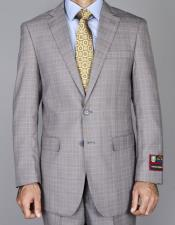 Windowpane Taupe Single Breasted
