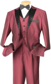 ID#PN_H52 3 Piece High Fashion Suit Wine, Midnight Blue