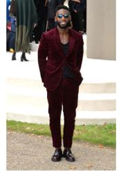 Wine ~ Wedding Prom Outfit Maroon Two buttons Style + Jacket Pants Best Inexpensive - Burgundy Suit