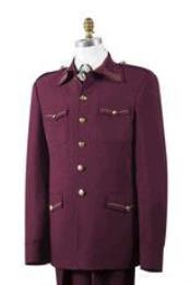 ID#AA442 Safari Wine Nailshead Military Pocket Suit