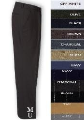 ID# ISL845 FLAT FRONT No Pleat Wool fabric DRESS PANTS HAND MADE RELAX FIT