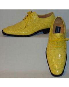 Yellow Croco Embossed Lace-Up