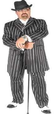 ID#DBA707 Dark color black & pronounce visible Very White Pinstripe Gangester Zoot Suits for Men