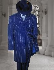 ID#MUM044 Vested Royal Blue & pronounce visible Pronounce White Pinstripe Fashion Zoot  3 ~ Three Piece Suit $179