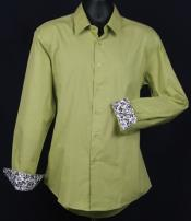 ID#KA6637 Fancy Slim Fit Dress Cheap Fashion Clearance Shirt Sale Online For Men - Cuff Pattern - Lime kelly green mint