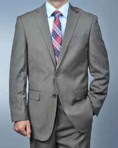 Mocha Shadow Stripe ~ Pinstripe 2-button Cheap Priced Fitted Tapered cut Taupe Suit