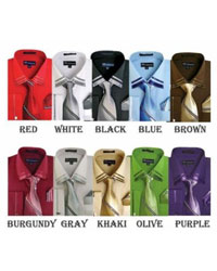 ID#PN94 French Cuff Dress Cheap Fashion Clearance Shirt Sale Online For Men With Tie And Handkerchief Style Multi-Color