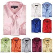 ID#PND23 Shiny Satin Dress Cheap Fashion Clearance Shirt Sale Online For Men With Tie And Handkerchief Combo Multi-Color