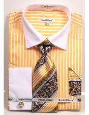 ID#DB17390 Two Tone French Cuff Big and Tall  Large Man ~ Plus Size Suits Mustard Stripe Pattern Dress Shirt White Collar