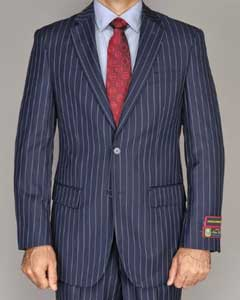 ID#PNA611 Side Vented Jacket & Flat Front Pants Navy Blue Wedding / Prom colored Pinstripe 2-Button Suit