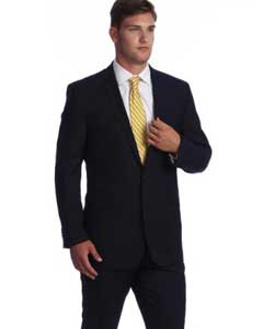 ID#M069-08 navy blue colored Bone Stripe ~ Pinstripe 2-button Wool fabric affordable Lightweight Material Summer Polyester Suits Men online Reduced Price