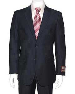 ID#FY4562 Navy Blue Wedding / Prom colored Stripe ~ Pinstripe 2-button Cheap Priced Fitted Tapered cut Suit