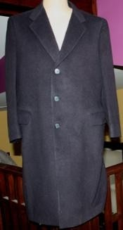ID#Sentry3310 45 Inch navy blue colored classic model features button front Wool fabric Three buttons style Overcoat