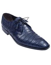 ID#KO17756 Genuine Navy Blue Crocodile Caiman Belly Oxfords Dress Los Altos Cheap Priced Exotic Skin Shoes For Sale For Men