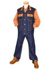 Blue/Orange Genuine Hornback Alligator/Denim