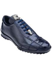 Soft Calfskin Paulo Genuine Ostrich / Navy Blue Casual Dress Sneaker