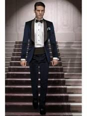 ID#SP24917 Buttons Closure Navy Blue  Shawl Lapel Velvet Suit